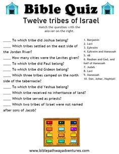 Printable bible quiz - Twelve tribes of Israel Bible Study For Kids, Bible Lessons For Kids, Kids Bible, Sunday School Teacher, Sunday School Lessons, Bible School Crafts, Bible Crafts, Diy Crafts, Bible Quiz