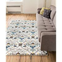 Ogee Waves Lattice Grey Gold Blue Ivory Floral Area Rug 8x10 ( 7'10'' x 9'10'' ) Modern Oriental Geometric Soft Pile Contemporary Carpet Thick Plush Stain Fade Resistant Bedroom Living Dining Room