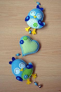Handmade by JoHo - vilten vogeltjes