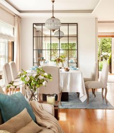 〚 Walls in dining area: 15 examples of decoration 〛 ◾ Photos ◾Ideas◾ Design Dining Room Walls, Dining Room Design, Dining Area, Living Room Decor, Living Spaces, Mirrors In Dining Room, Dining Tables, Living Rooms, Style At Home