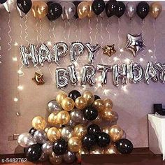 Accessories Happy Birthday Silver Foil Balloon+ 30 Metallic Balloons (Black, Gold and Silver) Material: Latex  Size: 16 in Description: It Has 1 Piece Of Happy Birthday Foil Balloon & 30 Pieces Of  Metallic Balloons Country of Origin: India Sizes Available: Free Size   Catalog Rating: ★4.1 (13599)  Catalog Name: Essential Beautiful Happy Birthday Foil Balloons CatalogID_817882 C127-SC1621 Code: 082-5482762-936