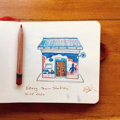В последнее время для себя я рисую только цветными карандашами в дороге или в кафе когда жду поезд или еду/кофе. Маленькие и часто незапланированные кусочки времени для творчества. В итоге мой огромный набор карандашей был урезан до всего лишь двух цветов- синего и красного и оказывается ими можно нарисовать все что мне нужно:) Ладно может быть ещё коричневый линер для мелочей.    #urbansketchers #uskpraha #urbansketching #pragueart #ricany #evgeniyapautova #wowyellow_art #redandblue #colorpenci Yellow Art, Train Station, Sketches, Drawings, Doodles, Sketch, Tekenen, Sketching