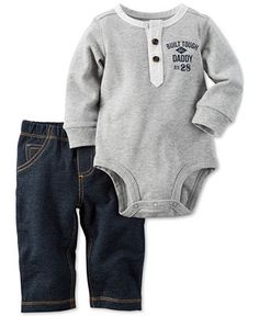 47c673e27a Carter s Baby Boys  2-Pc. Long-Sleeve Henley Bodysuit   Pull-On Jeans Set    Reviews - Sets   Outfits - Kids - Macy s