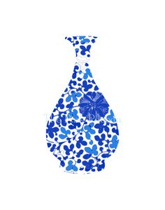 Blue and White Floral Chinoiserie Vase 11x14 by thepinkpagoda