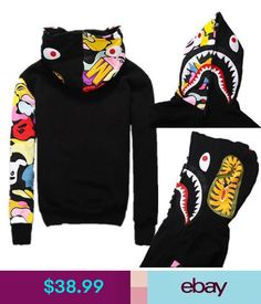 New bape Jacket A Bathing Ape Men& Shark Full Zip Hoodie Sweater . Bape Outfits, Cool Outfits, Fashion Outfits, Bape Jacket, A Bathing Ape, Long Sleeve Tee Shirts, Sweater Hoodie, Hoody, Jumper