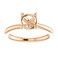 14kt Rose 6.5mm Round Engagement Ring Mounting Bezel Ring, Heart Ring, Gold Rings, Rose Gold, Engagement Rings, Bracelets, Jewelry, Enagement Rings, Charm Bracelets