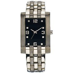 Men's Classic Dress Watch with Black Dial. Shiny and matte-textured silvertone bracelet fits wrists up to Fitness Watches For Women, Best Watches For Men, Cool Watches, Men's Watches, Diamond Design, Bracelet Watch, Fashion Accessories, Stuff To Buy, Classic