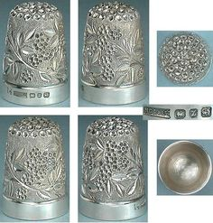 Antique English Blackberry Form Sterling Silver Thimble (Vintage Hallmarked 1899 Blackberries Bush Thimble)