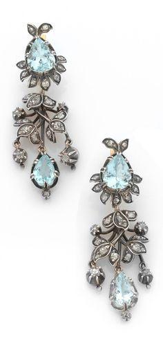 Antique aquamarine and diamond earrings, 19thc