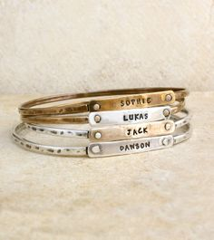 Personalized Bangle Bracelet Silver And Gold Beloved