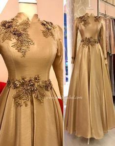 Image may contain: one or more people and people standing Hijab Evening Dress, Gold Evening Dresses, Hijab Dress Party, Indian Gowns Dresses, Indian Outfits, Prom Dresses, Dress Prom, Dress Long, Abaya Fashion