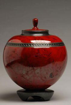 red creamation urn | Round Red Raku Cremation Urn