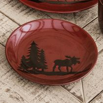 Moose and Bear Lodge Stoneware Moose Salad Plate & Click to buy Moose Dinnerware: Woodland River Moose Stoneware Plate ...