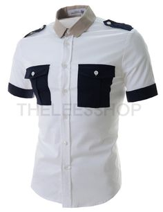 (DMSS01-NAVY) Mens Slim Fit Stretchy Two-Tone Two-Chest Pocket Short Sleeve Shirts