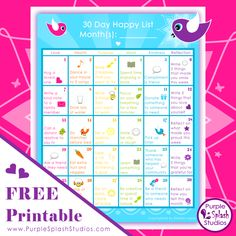 """Print this free """"30 Day Happy List"""" and join the family-friendly """"30 Days of Happiness Challenge"""".  Designed with families in mind, this list includes easy and fun activities for 30 days to slip into your daily lives. The list is divided into five categories, Love, Health, Purpose, Mind, Kindness and Reflection, to cover many areas of life that could boost happiness. Each activity gives you an opportunity to sample something that could bring extra joy into your life."""
