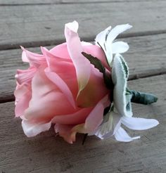 Corsage.  Pink Rose Bud White Accent by FeatheredNestFloral