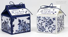 Blue Floral Fat Milk Carton using Stampin' Up! Floral Boutique DSP 2 1/2 x 2 1/2 x 2""