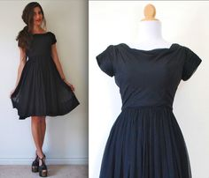 Vintage 50s 60s Black Chiffon New Look Party by littlelightVTG, $128.00