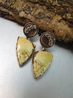 Natural Picture Jasper Earrings Set in Oxidized by pmdesigns09