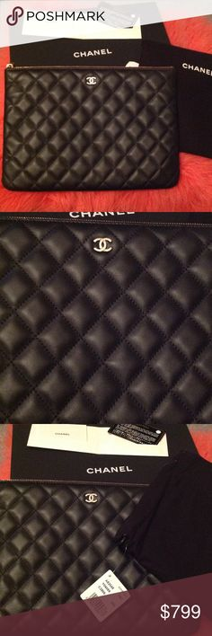 Authentic Chanel Lambskin O'Case Clutch Authentic Chanel Black Lambskin O'Case Medium Size.  Chanel unique crafted O'Case gold logo in lush Lambskin leather.  Case can be worn as a clutch, cosmetic bag or inside a tote or Maxi. Comes with receipt, tags, authenticity card, dust bag and box.   Hard to find these cases and with this purchase you save on the taxes. CHANEL Bags Cosmetic Bags & Cases