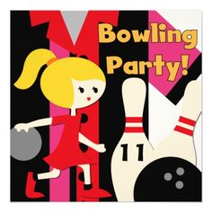 Blond Girl Bowling Party Invitations