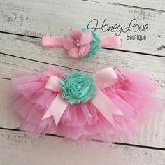 SET Light Pink tutu skirt bloomers diaper cover, Mint/Aqua flower headband bow, ruffles all around, newborn infant toddler little baby girl newborn photoshoot 1st birthday outfit by HoneyLove Boutique