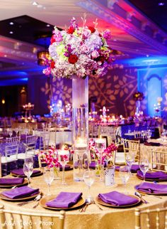 This Indian wedding reception is a gorgeous affair with lovely floral and decor. Indian Reception, Wedding Reception Flowers, Wedding Table, Wedding Colors, Reception Ideas, Wedding Ceremony, Rustic Wedding Decorations, Wedding Centerpieces, Purple And Gold Wedding
