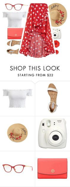 """Passing By"" by smartbuyglasses ❤ liked on Polyvore featuring Fujifilm, Ray-Ban, Tory Burch, Caroline Constas, white and red"