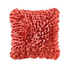 Teen Vogue Coral Ruffle Square Throw Pillow from Beddingstyle.com