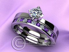 Tulip Wedding Set in Pure Palladium and Moissanite by WroughtGold, $2225.00