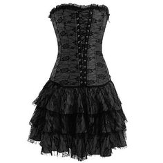 Black Layered Lace Corset Dress. $44.00. A steal and too cute. In stock. Blonde in pic.