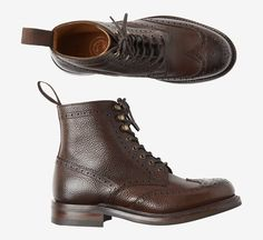 OLIVIA BOOT | Wing cap brogue boot in a grained calf leather. Gimped edge along brogue pattern. Hand made in Northamptonshire by Joseph Cheaney & Sons. Just now
