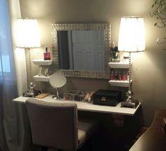 "Love the ""hanging shelves"" idea. Perfect for Brushes and perfumes so there is extra vanity space. Diy Vanity Mirror, Diy Makeup Vanity, Wood Vanity, Vanity Ideas, Makeup Stand, Makeup Vanities, Mirror Ideas, Vanity Set, Wood Closet Organizers"