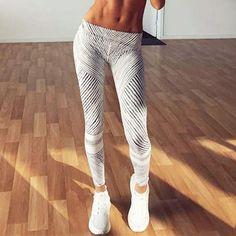 2017 New Fashion Women Sporting Leggings trousers casual Workout pants jeggings Gray Stripe fitness leggings clothing women