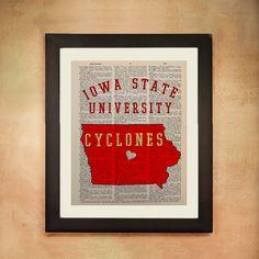 Iowa State Cyclones Dictionary Art Print Ames University ISU Vintage Paper Cardinal Red Yellow Gold College da50