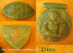 English translation of Parole de pâte's tutorial for making faux jade with polymer clay and acrylic inks. Love the carved pendant!