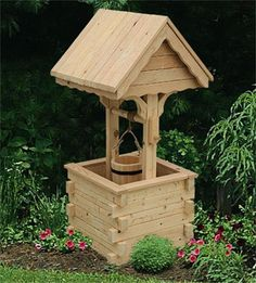 Amish Outdoor Wooden Wishing Well with Pine Roof - Jumbo | Amish Made Wishing Wells 4458