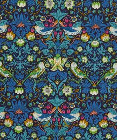This beautiful print is from the famous store on Regent Street - Liberty of London - and is printed onto soft high thread count 100% cotton lawn.  Strawberry Thief was designed by William Morris in 1883. It was part of a group of designs incorporating animals with flowers. Liberty first produced it as a furnishing fabric in 1979 and it has since been redrawn for Tana Lawn on a smaller scale. Strawberry Thief has been on classic Tana since 1955. This lovely fabric is ideal for quilting, card…