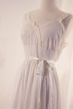 Romantic Bridal Lingerie - Vintage 1950s Carillon Chiffon Lace Peignoir Robe Nightgown. $90.00, via Etsy.