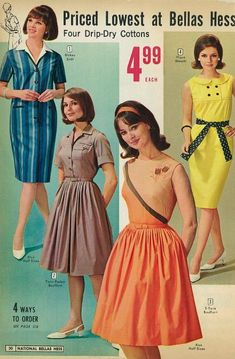 Forever in Style - Beauty and Fashion through the centuries 1900s Fashion, Sixties Fashion, Retro Fashion, Vintage Fashion, 1960s Outfits, Vintage Outfits, Mode Vintage, Vintage Hair, Vintage 1950s Dresses