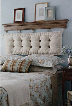 Note to self: good idea for a headboard - make with mantle! This would be fun to make various pillows for so I can change them out as the whim hits.