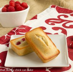Vanilla Financiers with Raspberries…from That Skinny Chick Can Bake