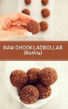 Dessa chokladbollar är: Mejerifria, vegan, rawfood, glutenfri, nötfri, kcal-snåla, hälsosamma och sötade med dadel. #recept #chokladbollar #bites #dadlar #havregryn #oats #kakao #vanilj