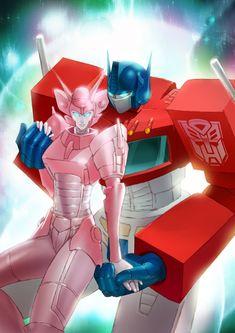 Optimus Prime and Elita One by yhykurama.deviantart.com on @deviantART