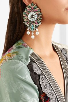 Etro | Bead, crystal and faux pearl clip earrings | NET-A-PORTER.COM