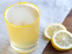 Summer Shandy  1/4 cup yellow sugar  1 lemon wedge  2 - 12 oz can regular or nonalcoholic light beer, chilled  1/2 cup chilled lemonad  Sprinkle yellow sugar on small plate. Moisten rims of 2 glasses with lemon wedge, then dip rims into sugar.  Add 3/4 cup beer and 1/4 cup lemonade to each glass; stir. Serve immediately.