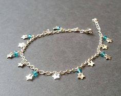 Bracelet de cheville acier inoxydable  Perles à facette de