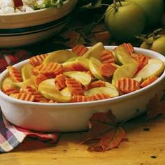 Autumn Casserole Recipe- Recipes  Since our state is second in the country in apple production, I make many recipes using them. My family often requests this dish for Sunday dinners and Thanksgiving.