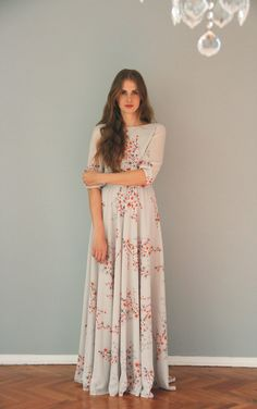 Floral print maxi chiffon dress with scoop back di NelliUzun