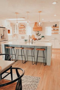 Green Kitchen Island, Double Island Kitchen, Sage Kitchen, Kitchen Hoods, Kitchen Island Lighting, Kitchen Decor, Kitchen Ideas, Kitchen Island With Stools, Lights For Kitchen